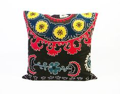Suzani Pillow  Abstract Floral Red Yellow Dark by MaterialRecovery, $132.00