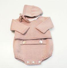 Ensemble Retro-vintage rose en tricot pour petite fille , gris pour petit garçon : Mode Bébé par rose-de-roz