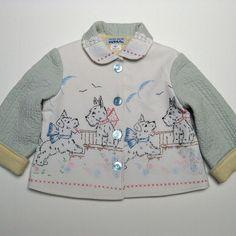 vintage scotty dog embroidered jacket-great idea for vintage linens