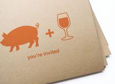 20 swine & wine postcard invites// free personalization and custom color by girlingearstudio, $20.00