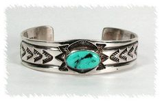 Hand made Native American Indian Jewelry; Navajo Sterling Silver stamped turquoise bracelet