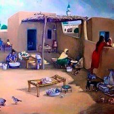 Village life in Pakistan. Art Village, Indian Village, Indian Art Paintings, Cool Paintings, Painting Art, Cartoon Kunst, Cartoon Art, Art Arabe, Pakistan Art