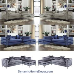 Tufted Velvet Sectionals #grey #greay #blue #silver #sofa #sectional #tufted #chaise #velvet #fabric #traditional #transitional #style #homedecor #interiors #interiordesign #livingroom #greatroom #nailhead #design #decor