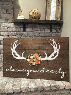 Your daily dose of Inspiration: I Love You Deerly (BIG) – Pallet Wood Sign – Rustic Home Decor Wooden Pallet Projects, Wooden Pallet Furniture, Wood Pallet Signs, Diy Wood Signs, Wooden Pallets, Pallet Projects Christmas, Pallet Home Decor, Rustic Wood Signs, Pallet Ideas