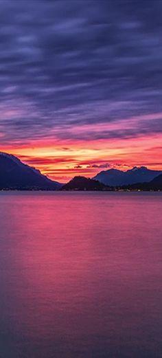 Dawn on Lake Como in Lombardy, Italy