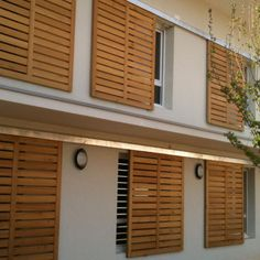 Shutters – Some Styles And Inspiration – The Homeward View Cottage Shutters, House Shutters, Window Shutters, Modern Shutters, Bahama Shutters, Wood Facade, Square Windows, Outdoor Blinds, Balcony Design