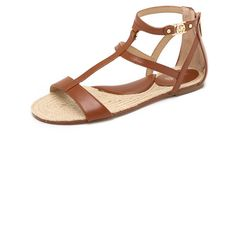 MICHAEL Michael Kors Bria Flat Sandals (490 ILS) ❤ liked on Polyvore featuring shoes, sandals, luggage, flat leather sandals, woven sandals, gladiator sandals, leather shoes and woven-leather shoes