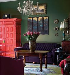 Deep Green makes a moody, sensual statement in a living room
