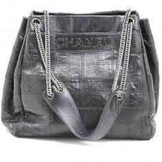 594961b6b17 CHANEL BLACK LEATHER SQUARE PRINT SHOULDER TOTE  chanel  bag Designer  Handbag Brands
