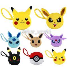 Anime Pokemon Plush Purse Zipper Handbag Pikachu Eevee Money Bag Cosplay Wallets