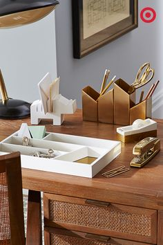 A Stylish, Well Organized Desk, Of Course. These Gold Accented, Nate Berkus  Office Supplies Make For The Perfect Setting For Some Serious Number  Crunching.