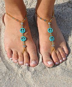 Another great find on #zulily! Blue Peace Out Barefoot Sandal #zulilyfinds