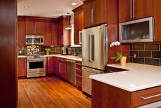 Remodeled Kitchen for a Home - modern - kitchen - nashville - by Leland Interiors, LLC Small Cabin Bathroom, Cabin Bathrooms, Cherry Kitchen, New Kitchen, Kitchen Ideas, 1920s House, White Countertops, Living Room Designs, Nashville