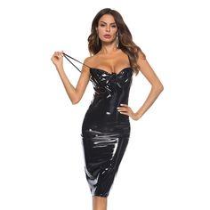 86f15ff50c8 Little Black Latex Bodycon Dresses Sexy Night Club Wear Steampunk Backless  Tight Runway Dresses