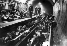 Underground Tube Station, London Underground Ghosts Londoners take shelter during a German bombing during the Blitz. This photo is of Bethnal Green Underground Tube Station, which could accommodate up to people during an air raid. Bethnal Green, London History, British History, World History, History Pics, History Online, Asian History, Tudor History, British Museum