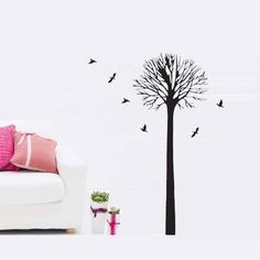 Modern House Tall Tree and Birds removable Vinyl Mural Art Wall Sticker Decal