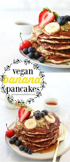 Easy vegan banana pancakes made with oats and chia seeds and topped with almond butter, berries, and pepitas. These one-bowl banana pancakes make a great plant-based vegan breakfast or brunch. No one can tell they are dairy-free, egg-free, and easy to make gluten-free! #vegan #veganbreakfast #mothersday #breakfast #pancakes #dairyfree #eggfree