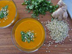 Raw Carrot Ginger Soup @The Blender Girl  http://healthyblenderrecipes.com/recipes/joe_cross_join_the_reboots_raw_vegan_carrot_ginger_soup/
