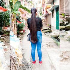 Loose Hairstyles, Indian Hairstyles, Ponytail Hairstyles, Girl Hairstyles, Long Indian Hair, Long Hair Ponytail, Silky Hair, Braids, Hair Girls