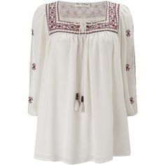Embroidered Gypsy Blouse (459.200 IDR) ❤ liked on Polyvore featuring tops, blouses, embroidered blouse, miss selfridge, embroidered tops, gypsy blouse and embroidery top