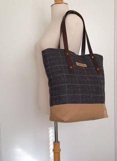 Dark blue gingham wool tote bag with canvas by boonestaakjes