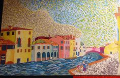 """Case Sul Sile Nells Riva di Sant'  Andrea"", by Andrea Berta, a student of Prof. Fabio Sandrini at L. Coletti Middle School in Treviso, one of 95 communities in the Sister City twinning with Sarasota and Treviso Province in Italy. The art was displayed at the Hands of Heritage Fest at Robarts Arena in Sarasota in 2003"