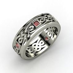 Men's Sterling Silver Ring with Red Garnet | Alhambra Knot Band | Gemvara