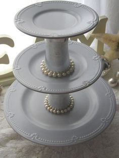 Cake Cupcake Stand 3 Tier Elegant Blue by RichInDaughters on Etsy, $22.00
