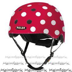 BMX Fahrradhelm Skatehelm Melon, Dotty White, Gr. M-L