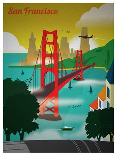 New San Francisco Golden Gate Bridge Art Print Travel Poster
