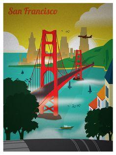 ***New San Francisco Golden Gate Bridge Art Print Travel Poster San Francisco Art, San Francisco Travel, Tumblr Travel, Beautiful Posters, Parcs, Illustrations, Vintage Travel Posters, Cool Posters, Golden Gate