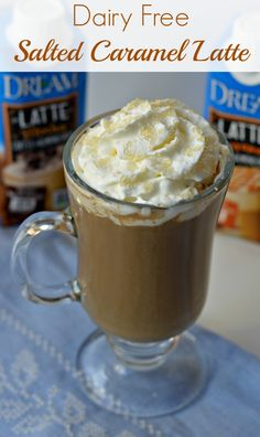 Dairy Free Salted Caramel Latte is made with just 4 ingredients and without a coffee maker! It's ready in just minutes. #DREAMLatte AD