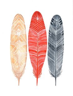 Watercolor Feather Painting - Feathers Art - Archival Print - Red, Peach, Gray. $20.00, via Etsy.