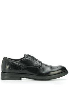 Black leather Academia lace-up shoes from Officine Creative featuring a round toe, a lace-up front fastening, a leather lining and a low block heel. Lace Up Shoes, Black Shoes, Dress Shoes, Officine Creative, Block Heels, Oxford Shoes, Women Wear, Black Leather, Slip On