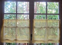 Cafe Curtains, Pair Yellow Sheer Lace Panels with a Ribbon design ideal for Kitchen Cottage Decor, Each Panel 30 x 21 by HatchedinFrance on Etsy https://www.etsy.com/listing/205026366/cafe-curtains-pair-yellow-sheer-lace