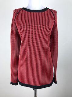 Lisa Todd Sweater Size Medium Cotton Cashmere Red White Black Knit Colorblock #LisaTodd #Sweater