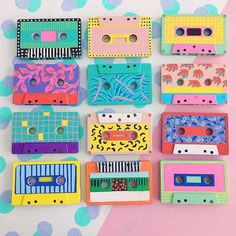 Items similar to Funky handpainted rainbow artwork cassette tapes mini artwork on Etsy Cassette Tape Art, Chinoiserie, Retro, Posca Art, Tape Painting, Cd Art, Record Art, Aesthetic Painting, Ideias Diy