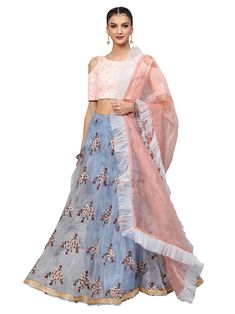 7337d08a67 Pink art silk embroidered semi stitched lehenga with unstitched blouse &  dupatta