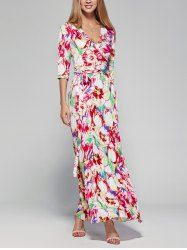 Sweet 3/4 Sleeve Plunging Neck Floral Women's Wrap Dress