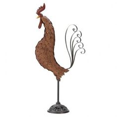 Rooster Garden yard Art Statue Large Metal modern abstract patio lawn Sculpture Whether your décor is wine-country Tuscan or down-home farmyard country-cute, t Metal Yard Art, Metal Art, Rooster Decor, Chickens And Roosters, Welding Art, Farm Yard, Metal Crafts, Wrought Iron, Garden Art