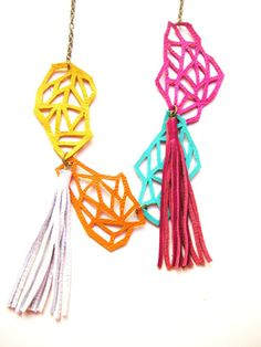 bold coloured leather cutout necklace