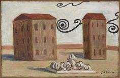 Giorgio De Chirico (italiano, 1888-1978) Calligram.  Esiliati Grazia, 1931 Olio su tela, 27 x 41 cm