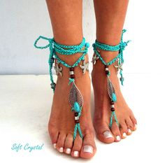 Anklet Jewelry, Beach Jewelry, Anklets, Feet Jewelry, Boho Sandals, Bare Foot Sandals, Strand Pool, Pom Pom Sandals, Barefoot Beach