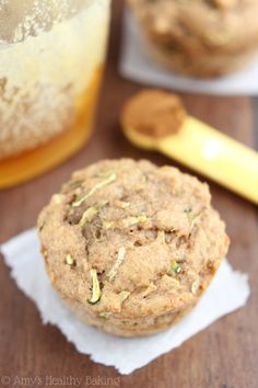 Whole Wheat Zucchini Banana Muffins -- an easy & healthy breakfast recipe! {clean-eating}