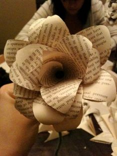 A different paper flower -- shown with book paper, website shows on dyed book paper, think about double sided scrapbook paper.