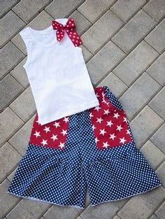 Girls of July Outfit Adorable Ruffle Capri Pocket Pant & Tank 12 Months to 12 Years 4th Of July Dresses, 4th Of July Outfits, Fourth Of July, Cute Outfits For Kids, Girly Outfits, Sewing For Kids, Sewing Ideas, Sewing Projects, Free Your Mind