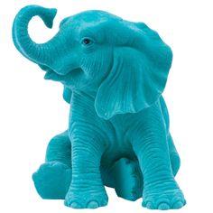 Elefante Decorativo Sentado Jade em Resina - 15x14 cm