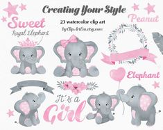 This Baby Girl Pink Gray Elephant collection include: - 23 Girl Elephant Images in separate PNG files with transparent background, - Sizes varies from to 300 dpi/ RGB ALL elements Baby Elephant Clipart, Baby Girl Elephant, Elephant Baby Showers, Pink Elephant, Baby Elefante, Elephant Images, Girls Clips, Pink Watercolor, Elephant Watercolor