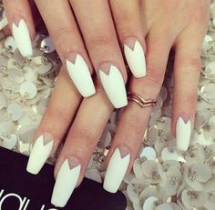 Negative Space Pointed Moon White Fake Press On Nails - Stiletto, Oval, Square, Coffin/Ballerina by ExhaleHate on Etsy https://www.etsy.com/listing/259805801/negative-space-pointed-moon-white-fake