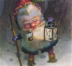 N Zan Christmas Gnome with Lantern, Pipe 1922